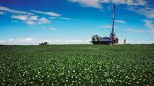 A rig operates on BHP Billiton's Jansen potash project in Saskatchewan.