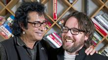 Canadian musicians Andy Kim, left, and Kevin Drew. (Kevin Van Paassen/Kevin Van Paassen / The Globe and Mail)