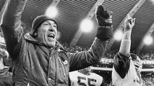 Then Montreal Alouettes coach Marv Levy celebrates the Alouettes' win 41-6 over the Edmonton Eskimos during the 1977 Grey Cup action at Montreal's Olympic Stadium. (stf)