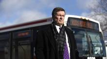 Toronto mayor John Tory attends a press conference outside Joyce Public School on Jan 19 2015, where he announced an upcoming TTC fare hike. (Fred Lum/The Globe and Mail)