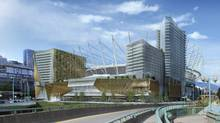 Rendering of BC Place and the proposed entertainment complex to be built on PavCo-owned land adjacent to BC Place. (Globe files/Globe files)