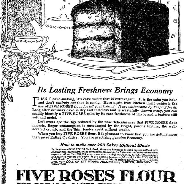 Five Roses Flour advertisement in The Globe and Mail on April 9, 1920.