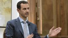 In this Feb. 10, 2017 file photo released by the Syrian official news agency SANA, Syrian President Bashar Assad speaks during an interview in Damascus, Syria. (Uncredited/AP)