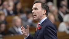 Finance Minister Bill Morneau answers a question in the House of Commons on Parliament Hill in Ottawa on Nov. 2, 2016. (Adrian Wyld/THE CANADIAN PRESS)