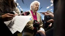 Mississauga Mayor Hazel McCallion talks to reporters at a meeting of the Metrolinx board of directors in Toronto on Monday. (PETER POWER/THE GLOBE AND MAIL)