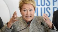PQ leader Pauline Marois gestures during a campaign stop in Drummondville on March 6, 2014. (RYAN REMIORZ/THE CANADIAN PRESS)