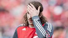 Toronto FC captain Torsten Frings reacts in this May 5, 2012 photo in Toronto. (Chris Young/CP/Chris Young/CP)