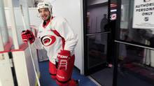 Carolina Hurricanes' Chad LaRose takes the ice for the team's first hockey workout since the end of the NHL labour lockout. (Chris Seward/AP)