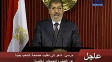 In this image made from video, Egyptian President Mohammed Morsi delivers a televised statement in Cairo, on Dec. 6, 2012. (AP)
