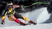 Canada's John Kucera speeds down the hill during the men's Super-G race at the Lake Louise Winterstart World Cup in Lake Louise, Alta. Sunday, November 25, 2012. (Jonathan Hayward/THE CANADIAN PRESS)
