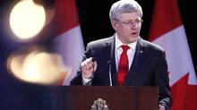 Canada's Prime Minister Stephen Harper speaks at the Memorial to the Victims of Communism Tribute to Liberty Fundraising Dinner in Toronto, Ontario, May 30, 2014. (Aaron Harris/Reuters)