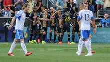 Philadelphia Union players celebrate a goal by Philadelphia Union forward Sebastien Le Toux (11) during the first half of the match against the Montreal Impactat PPL Park in Chester, Pa., on Aug. 9.