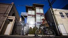 A residence built from shipping containers is pictured at 502 Alexander St. in Vancouver on Jan. 9, 2016. The Atira Women's Resource Society is proposing to construct a seven-storey building out of recycled shipping containers on Hawks Avenue in Strathcona, which would house women and children affected by violence. (Ben Nelms For The Globe and Mail)