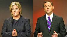 NDP Leader Andrea Horwath and Progressive Conservative Tim Hudak participate in the Ontario election leaders debate in Toronto on Sept. 27, 2011. (Frank Gunn/Frank Gunn/The Canadian Press)