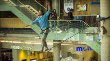 The UBC Slackline Club organizes an event at the student union building, the Nest. (BRUNO GODOY PHOTOGRAPHY)