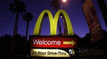 A McDonald's drive-thru sign in Los Angeles. (MARIO ANZUONI/REUTERS)
