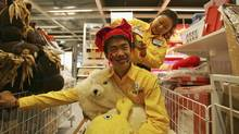 Chinese IKEA staff rehearse a play to entertain young customers at the newly completed IKEA Siyuanqiao store ahead of its opening on April 10, 2006 in Beijing, China. (Guang Niu/2006 Getty Images)