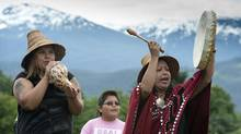 Members of the Haisla First Nation perform during an event to celebrate a recent land sale to the Haisla people in Kitimat, B.C., last week. (JONATHAN HAYWARD/THE CANADIAN PRESS)