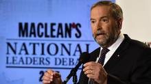 NDP leader Thomas Mulcair speaks to members of the media after taking part in the first leaders debate Thursday, August 6, 2015 in Toronto. (Frank Gunn/The Canadian Press)