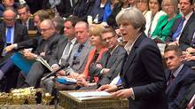 Britain's Prime Minister Theresa May speaks in Parliament as she announces that she has sent the letter to trigger the process of leaving the European Union in London, March 29, 2017. (Reuters)