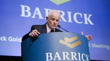 Barrick Gold chairman Peter Munk speaks at the company's annual general meeting in Toronto on May 2, 2012. (CHRIS YOUNG/THE CANADIAN PRESS)