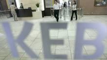 Lobby of Korea Exchange Bank's headquarters in Seoul (JO YONG-HAK/REUTERS)