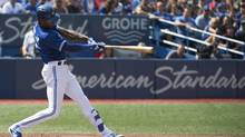 Toronto Blue Jays centre fielder Melvin Upton Jr. (7) hits a two run home run during the second inning in a game against the Boston Red Sox at Rogers Centre in Toronto on Sept. 10, 2016. (Nick Turchiaro/USA Today Sports)