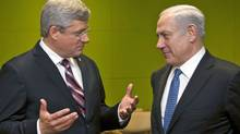 Prime Minister Stephen Harper holds a bilateral meeting with Israel's Benjamin Netanyahu at the United Nations in New York on Sept. 21, 2011. (Ryan Remiorz/THE CANADIAN PRESS)