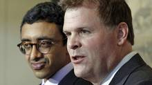 Foreign Affairs Minister John Baird and his counterpart from the United Arab Emirates, Sheikh Abdullah bin Zayed Al Nahyan, hold a news conference in Ottawa on March 5, 2012. (BLAIR GABLE/Blair Gable/Reuters)