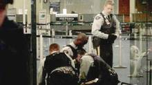A framegrab from video shows the tasering of Robert Dziekanski at Vancouver International Airport (eMail/PROVINCE)