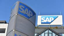 The logo of German software giant SAP can be seen at the company's headquarters in Walldorf, southwestern Germany, on Jan. 18, 2016. (Uwe Anspach/DPA/AFP/Getty Images)