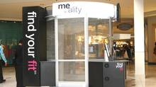 In 15 seconds the Me-ality booth fires tiny radio waves through customers' clothes, capturing data as they reflect back off the water in skin, resulting in 200,000 data points that add up to a record of each person's unique body size and shape. (Unique Solutions)