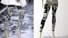 Left: Graphic-print leggings were paired with booties on the Miss Sixty spring runway in New York. Right: Our version was silk-screened by hand at Peach Berserk in Toronto (around $30 through www.peachberserk.com).