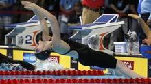 Missy Franklin swims in the women's 200m backstroke semifinal during the U.S. Olympic swimming trials in Omaha, Nebraska, June 30, 2012. (Reuters)