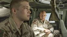 Joe Alwyn, seen with co-star Vin Diesel, plays the title character in Ang Lee's new film, based on the novel by Ben Fountain. (Sony Pictures)