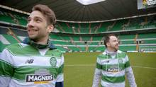 Celtic Soul, co-created by Jay Baruchel, left, and Eoin O'Callaghan, right, is both very funny and deeply poignant, as Baruchel comes face to face with his family's past on a trip to see his favourite soccer club play.