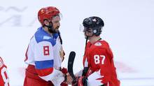Russia left winger Alex Ovechkin and Team Canada centre Sidney Crosby shake hands after Team Canada 5-3 victory during a semifinal game in the 2016 World Cup of Hockey in Toronto. (Kevin Sousa/USA Today Sports)