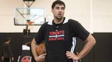 Sim Bhullar of Brampton, attends a pre-draft work out with the Toronto Raptors at the Air Canada Centre  in Toronto, Ontario, Wednesday, Jun 11, 2014. (Kevin Van Paassen For The Globe and Mail)