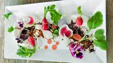 Radishes, whipped chevre with olive soil from Marlowe in San Francisco.