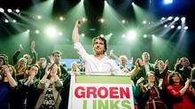 Leader Jesse Klaver of GroenLinks reacts during election night in Amsterdam. The Liberal party of Dutch Prime Minister Mark Rutte was set to win the most seats in Wednesday's elections, forcing far-right Geert Wilders into second place. (ROBIN VAN LONKHUIJSEN/AFP/Getty Images)