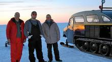 Ron Shewchuk, guide André Chadot and Rocco Ciancio rode in the vintage Bombardier snow machine across Great Slave Lake. (Franziska Ulbricht)