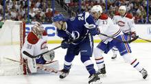 Montreal Canadiens goalie Carey Price makes a save on a shot by Tampa Bay Lightning right wing Ryan Callaha (Chris O'Meara/THE ASSOCIATED PRESS)