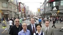 From left, Ken Greenberg, Greenberg Consultants Inc., Ernest Liu, owner of Salad King, Alan Shepard, Provost and Vice President Academic Ryerson University, Kristyn Wong-Tam, councillor for Ward 27, and James Robinson, Executive Director of Downtown Yonge Business Improvement Area are photographed on Yonge Street July 7/2011. (Kevin Van Paassen/The Globe and Mail/Kevin Van Paassen/The Globe and Mail)
