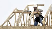 File photo of a worker at at a new home job site in Brampton, Ont. (J.P. MOCZULSKI For The Globe and Mail)