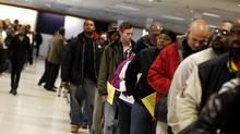 Voters wait in line to cast their ballots at the Franklin County in-person absentee voting location in Columbus, OhioNovember 5, 2012. (Matt Sullivan/Reuters)