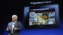 Mike Lazaridis, president and co-CEO of Research In Motion Ltd., speaks about the BlackBerry PlayBook tablet, during BlackBerry's DevCon at the Moscone West Center in San Francisco, Oct. 18, 2011. (BECK DIEFENBACH/Beck Diefenbach/Reuters)