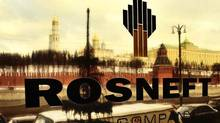 The name of Russia's state oil company OAO Rosneft is displayed on its office building in Moscow. The company is arranging financing for its $55-billion acquisition of rival TNK-BP. (Fyodor Savintsev/ITAR-TASS)