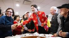 Justin Trudeau with Vancouver Chinese community leaders celebrating the Chinese Lunar New Year at a restaurant in Vancouver, January 31, 2014. (BEN NELMS/REUTERS)