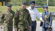 Defence Minister Harjit Sajjan attends an announcement of investments in infrastructure for the 5th Canadian Division Support Base at CFB Gagetown in Oromocto, N.B. on Monday, June 27, 2016. (Andrew Vaughan/THE CANADIAN PRESS)