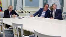 A still from the Showtime documentary The Putin Interviews. (Maximilien Arvelaiz/Komandir/Courtesy of SHOWTIME)